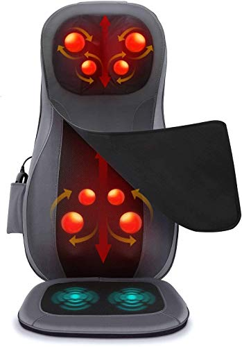 Naipo Neck & Back Massager Shiatsu Massage Chair for Seat Cushion Pad Full Body–3D Deep Kneading Vibration Heat Relieve Muscle Pain for Home Office Use