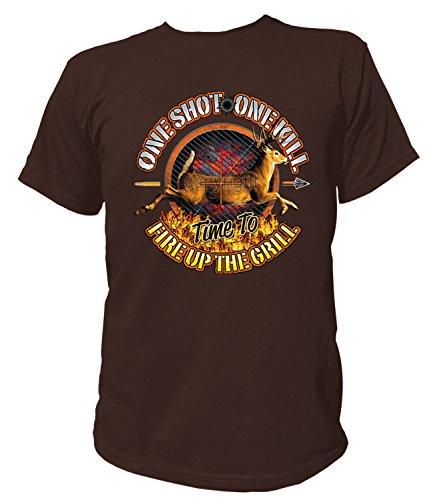 Artdiktat Herren T-Shirt - ONE Shot - ONE Kill, TIME to FIRE UP The Grill Größe L, braun