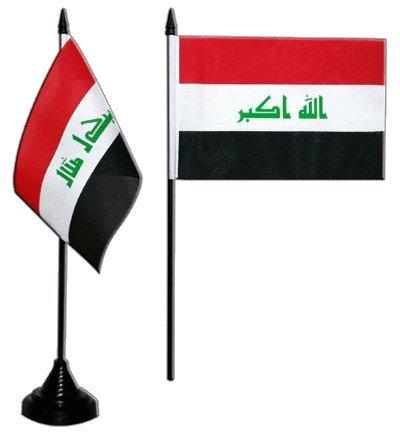 Tischflagge / Tischfahne Irak 2009 + gratis Aufkleber, Flaggenfritze®