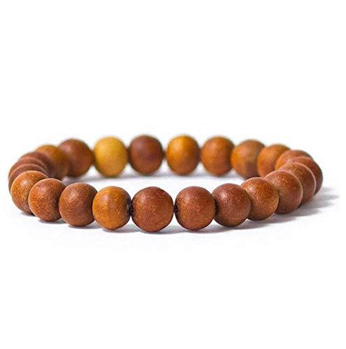SHIVALOKA Pulsera de madera de sándalo, cuentas de chandan puras, tamaño de cuentas de 8,00 mm, elástica, tamaño libre, pulsera de meditación para hombres y mujeres
