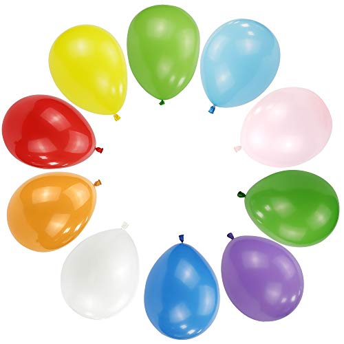 100 PCS 12 Inches Large Big Round Assorted Different Color Biodegradable Latex Balloons Bulk Helium Gas or Air Inflated Inflatable for Kids Birthday Party Celebrations Decorations Supplies Favors
