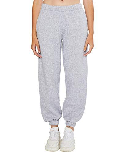 esstive Women's Ultra Soft Fleece Basic Midweight Casual Active Workout High Rise Elastic Waistband Sweatpants, Light Heather Grey, Large