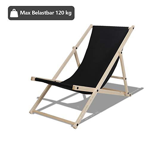 TolleTour Holz Liegestuhl klappbar Gartenliege Strandliegestuhl Strandliege für den Garten, Terrasse und Balkon 120 kg max.(Schwarz)