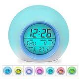 HAMSWAN Despertadores, [Regalos] Reloi Alarma, Clock, Despertadores Cambiado Entre 7 Colores con 8 Tonos, Tempreatura...