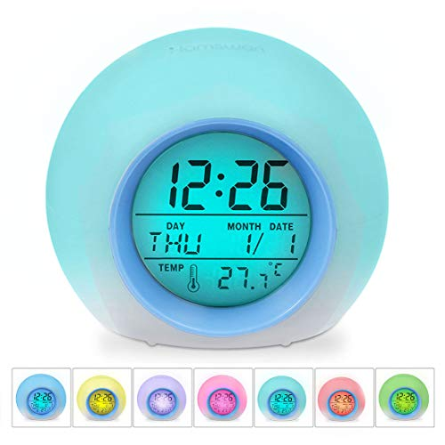 HAMSWAN [Geburtstagsgeschenk für Kinder JL-C018 LED Wecker 7 Farben Ändern Wecker, Schlaf-Friendly mit Innentemperaturanzeige für Arbeit Eltern MEHRWEG (Hellblau)