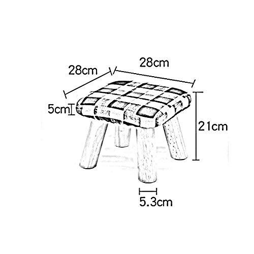 YIZ Modern Meubilair Massief Hout Sofa Kruk Doek Hoge Benen Kleine Bench Vierkante Kruk Lage Kruk Mode Creatieve Wijziging Schoen Kruk (5 Kleuren Beschikbaar) #2