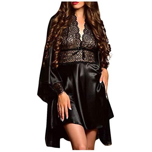 Dorical Damen 2pcs Dessous Die Seide Spitze Robe Kleid Puppe Nachthemd Nachtwäsche Kimono Einstellen Sexy Sling Nachthemd Nachtwäsche Seide Spitze Kleid Babydoll Nachthemd(Schwarz-2,Large)