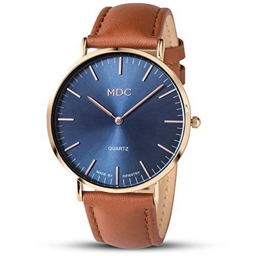 Herrenuhr Lederarmband Uhr Braun Armbanduhr Herren Lässig Analoge Uhren Flache Blau Rose Gold Business Herrenarmbanduhr by MDC