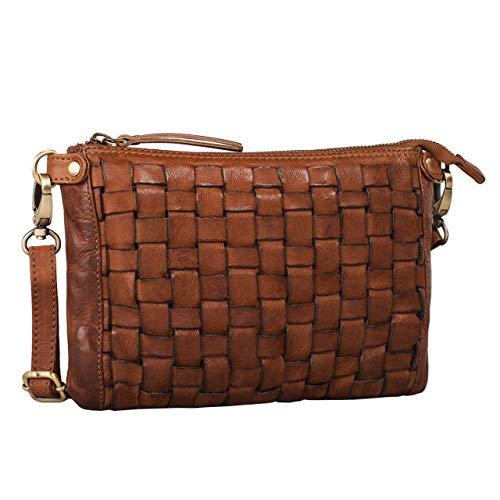 STILORD 'Jana' Leder-Handtasche Damen Vintage klein Umhängetasche Clutch Elegante Abendtasche Ausgehtasche Partytasche geflochtene Freizeittasche echtes Rindsleder, Farbe:Ocker - braun