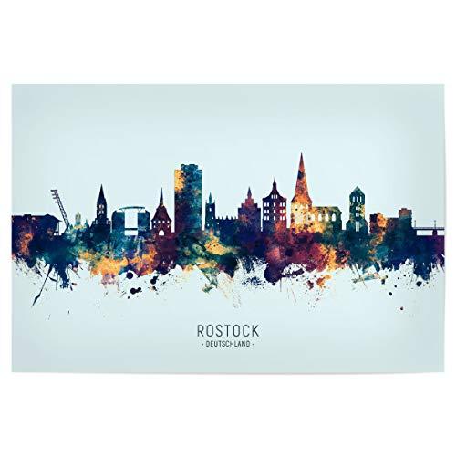 artboxONE Poster 120x80 cm Städte Rostock Germany Skyline BlueOrange - Bild Rostock Cityscape Deutschland