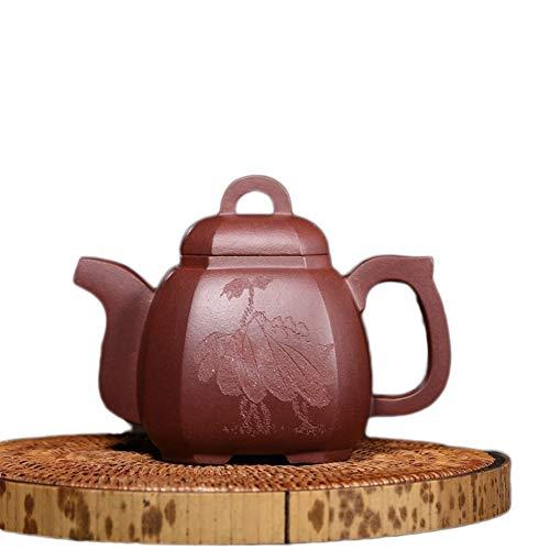 Teapot Fortune Plus Teapot Yixing Teapot Ore Purple Clay Pot Smoke Angle Quartet Tea Maker Sand Pot Classic Tea Set (Color : Purple mud)