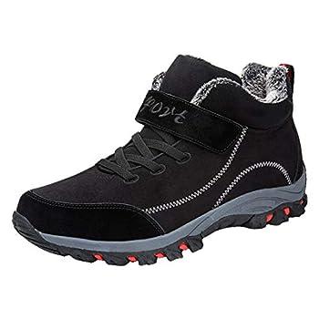Women Couple Winter Warm Sneaker Ladies Plus Velvet Wear Resistant Damping Hiking Casual Sports Shoes  Black 6.5-7-Women-US