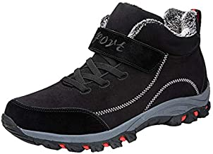 Women Couple Winter Warm Sneaker Ladies Plus Velvet Wear Resistant Damping Hiking Casual Sports Shoes (Black, 6.5-7-Women-US)