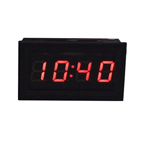 ANCHOM Mini LED Digital Electro Uhr Einbauuhr für Auto Motorrad Kfz PKW (45 x 28x20 mm) (Rot)