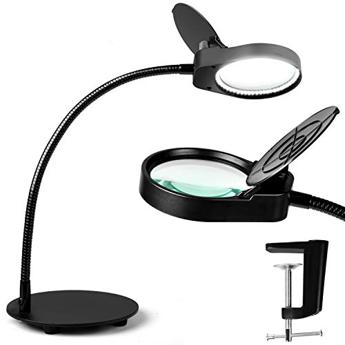 TOMSOO Dimmable Magnifying Glass Desk Lamp - 2 in 1 Bright Lighted Magnifier with Stand & Clamp - Adjustable Gooseneck LED Light for Reading, Craft, Hobby, Sewing, Painting, Puzzle, Close Work, 2.25X