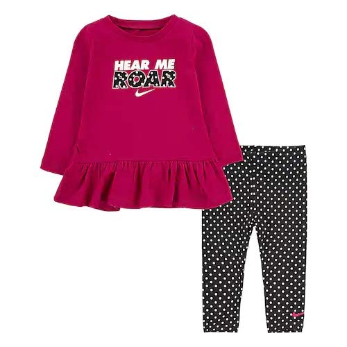 nike ナイキ 12ヵ月-4歳用サイズ 女の子用HERE ME ROARx可愛い裾フリル長袖トップ上下2点セット(Purple) 出産祝い セットアップ ジョガーパンツ (12months(75)) [並行輸入品]