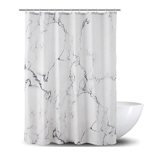 Alumuk Duschvorhang aus Stoff | wasserdichter Duschvorhang mit verstärktem Saum | waschbarer Textil Duschvorhang in der Größe 180 cm x 200cm | Polyester Marmor