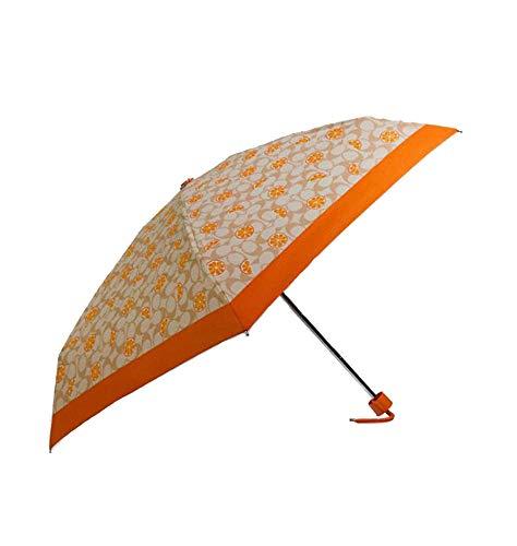 Coach Umbrella In Orange Signature Print
