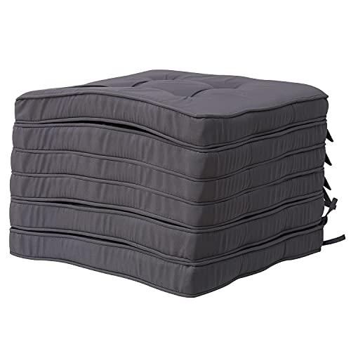 RACE LEAF Almohadillas de silla de cocina, cojines cuadrados de algodón con correas para el hogar, oficina, coche (paquete de 6, gris oscuro)