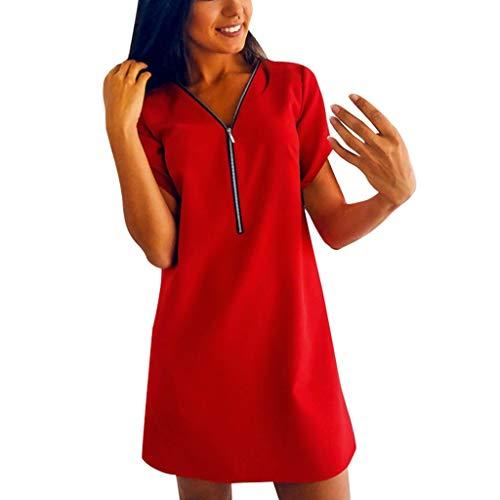 Camiseta Vestido Mujer, Dragon868 Verano Casual Mini Vestidos Cortos, Vestidos de Cuello En V con Cremallera, Manga Corta Blusas Sueltas de Color Sólido con Botón, S-XXL
