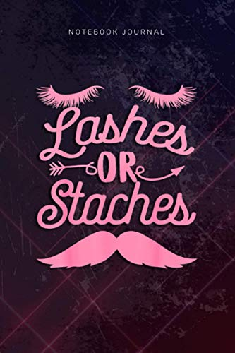 Lined Notebook Journal Gender Reveal Party Supplies Lashes or Staches: Planning, Hour, 6x9 inch, Gym, Goal, Over...
