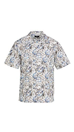 Theory Men's Weldon Sketched Floral Short Sleeve Shirt, Air Force Multi, Medium