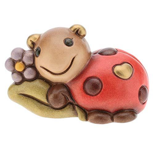 THUN - Mini Coccinella Portafortuna con Fiore - Animali Soprammobile da Collezione - Ceramica - I Classici
