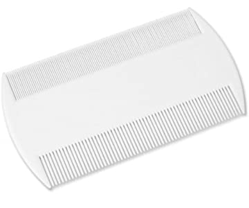 DDLBiZ Peine de doble cara duradero para detección de piojos con peine con soporte (también ideal para pulgas de mascotas) elimina liendres, piojos y pulgas y huevos [blanco] [9cm x 5.3cm]