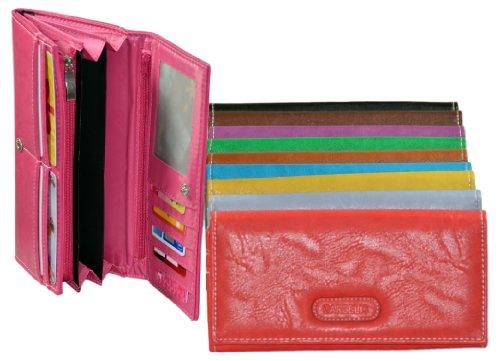 Große Damengeldbörse mit 9 Kartenfächern - Kunstleder Portemonnaie 19x10x3cm in Rot