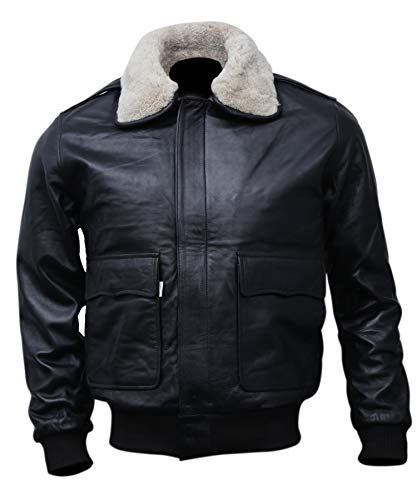 Mens A-2 Flight Bomber Leather Jacket Black | Aviator Air Force Brown Jackets for Men with Real Fur Collar (Black, Large (Body Chest 43