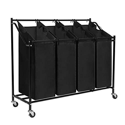Meerveil Wäschesortierer 4 Fächer, Wäschekorb, Wäschesammler mit 4 abnehmbaren Stofftaschen, Wäschebehälter auf Rollen, Wäschebox, 4x45 Liter, Schwarz