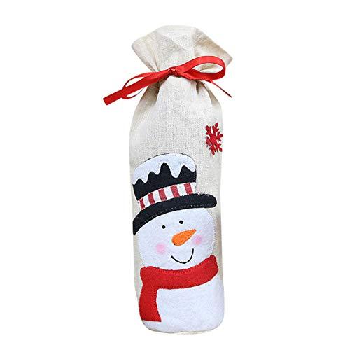 Wangy Weihnachtliche Weinflaschen-Abdeckung, niedlicher Schneemann, Elch-Muster, Dekoration