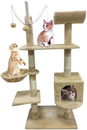 Bigbutterfly Árbol para Gato Rascador Poste para Gatos Juegos Escalada 153 cm Beige: Amazon.es: Productos para mascotas
