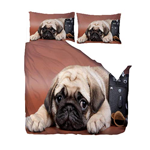 Duvet Cover Double Bed 200x200cm Pug,Printed Bedding Set Set 3 Pcs With Zipper Closure + 2 Pillowcases - Ultra Soft Hypoallergenic Microfiber Quilt Bedding
