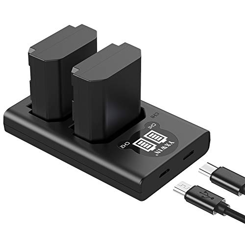 NP-FZ100 NP FZ100 Camera Battery Charger Set, YXWIN Replacement Batteries Compatible with Firmware 2.0 Sony Alpha A7 III, A7R III, A7R IV, A9, Alpha 9, A7R3 (2-Pack, Micro USB & Type-C Ports, 2000mAh)