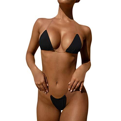 BURFLY Damen Sommer Volltonfarbe transparent Schlinge Dreipunkt Bikini Damen sexy Strand Badeanzug