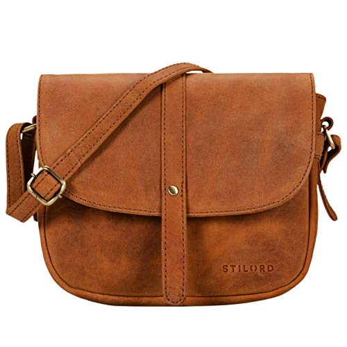 STILORD 'Kira' Umhängetasche Frauen Leder Vintage kleine Handtasche zum Ausgehen Klassische Abendtasche Partytasche Freizeittasche Echtleder, Farbe:Sand - braun