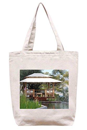 Verano lago gazebo - bolso de mano lona del algodón