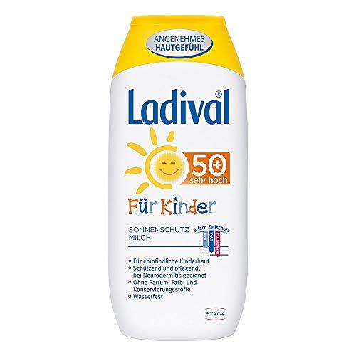 LADIVAL Kinder Sonnenmilch LSF 50+ - Parfümfreie Sonnenschutzlotion für Kinder - ohne Farb- und Konservierungsstoffe - wasserfest - Vorteilsgröße, 250 ml
