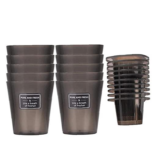 Pote de planta plástico redondo Nivel de agua Visualable Hilo de algodón Hilo Auto-riego Flowerpot Negro 10pcs, macetas