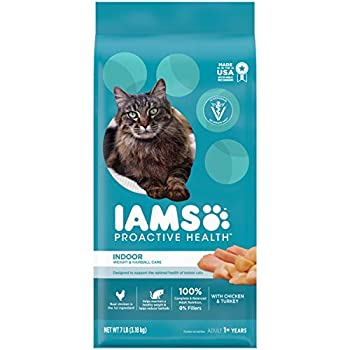 IAMS PROACTIVE HEALTH Adult Indoor Weight Control & Hairball Control Dry Cat Food with Chicken Turkey and Garden Greens 7 lb Bag