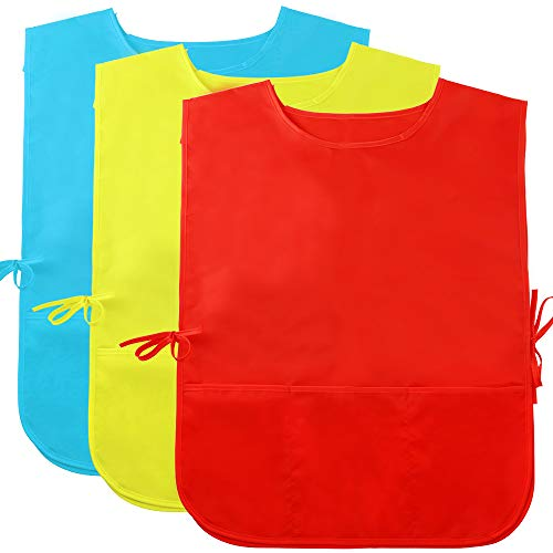 Caydo 3 Pieces Water Resistant Children's Art Smock Middle Size with 3 Roomy Pocket, Painting Apron for Kids 5 to 10 Years