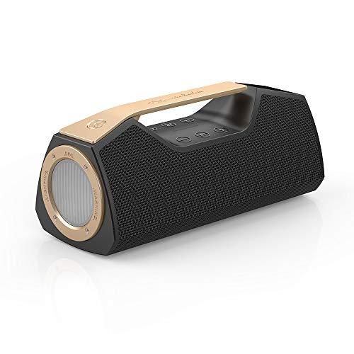 Wharfedale Exson M Bluetooth Speaker in Schwarz - Tragbarer Lautsprecher mit Multifunktions LED Licht und Power bank, Freisprechfunktion, wireless, wasserdicht (IPX7), 25 Watt, TWS, 1 x usb 3.0 type c