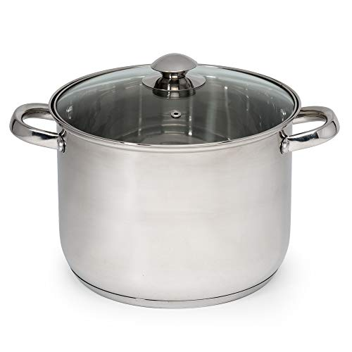 Ecolution Pure Intentions Stainless Steel Stock Pot/Stockpot with Tempered Glass Steam Vented Lid, 8-Quart