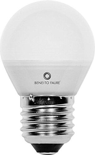 Beneito&Faure - Bombilla Led esférica, 4 Watios y 439 Lúmenes, casquillo E27. Color de Luz Blanco cálido 3000K.
