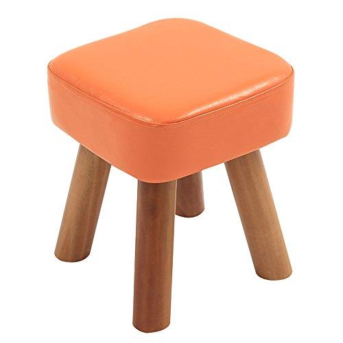 Escabel Escabel hogar sólido de Piel imitación Madera Sofá de heces/Foyer Zapatos cambiantes de heces Mesa de la Plaza de heces (Color : Orange)