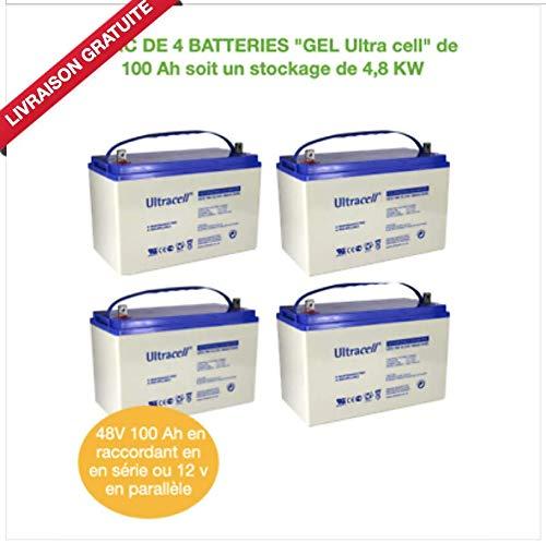 Baterías de gel de 12 V para parque de 4 x 100 Ah = 4800 W.