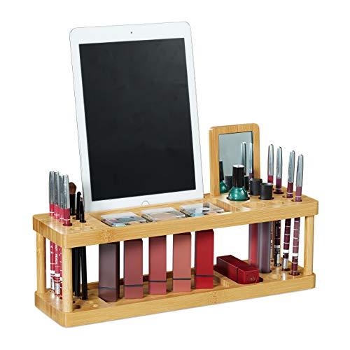 Relaxdays cosmetica-organizer met spiegel, bamboe, houder voor make-up & bureau, h x b 20,5x36x10 cm, 17 vakken, naturel