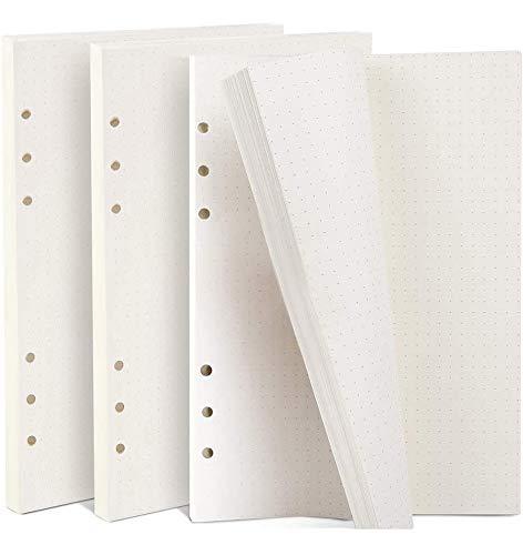 Kbnian 135 Blätter Gepunktetes Papier Dot Grid Paper A5 6 Löcher Nachfüllpapier für Filofax A5, Notizen, DIY, Bullet Journal, Skizze, Malerei, 8,26 x 5,59 Zoll