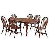 Sunset Trading Andrews 7 Piece 72' Rectangular Extendable Arrowback Chairs Seats 8 Dining Set, Two Sized Expandable Table, Distressed Chestnut Brown